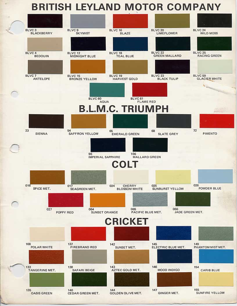 Bmc Bl Paint Codes And Colors How To Library The Triumph Experience Tr3 Color Wiring Diagram British Leyland Code Chips 1970 1972