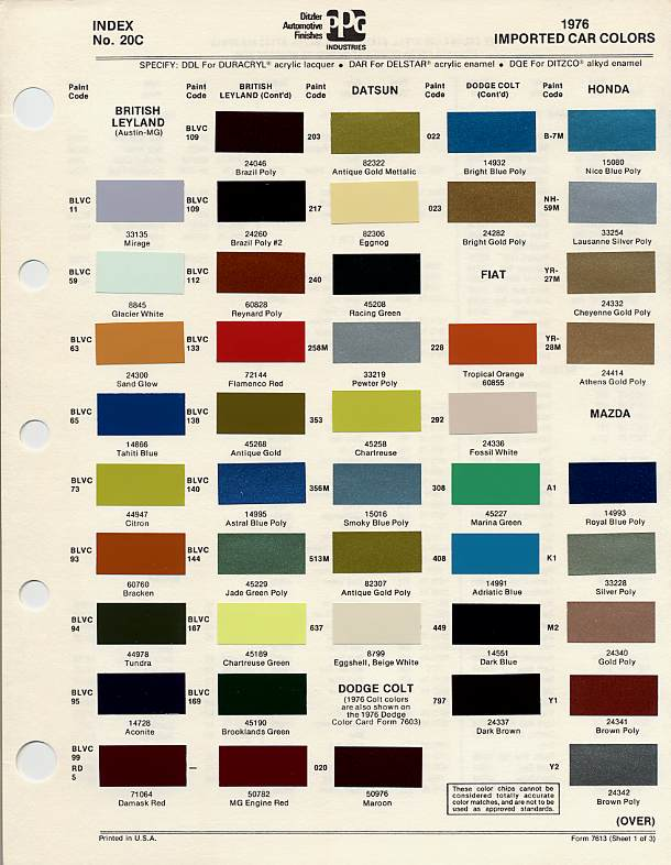 Car Paint Codes >> Bmc Bl Paint Codes And Colors How To Library The Triumph