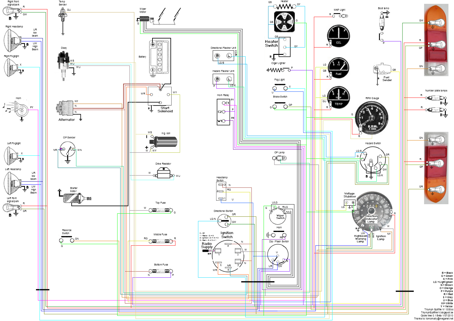 Spitfire Wiring Diagram on spitfire interior diagram, triumph gt6 electrical diagram, spitfire ignition system,