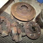 The rotors are pretty rusty the hubs and calipers