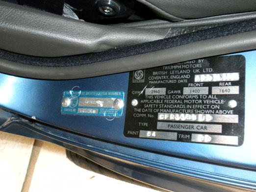 Toyota Vin Decoder >> VIN and trim ID plate question (Page 2) : TR6 Tech Forum ...