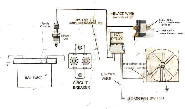 Wiring for Electric Fan Constant hot amp ign switch TR6