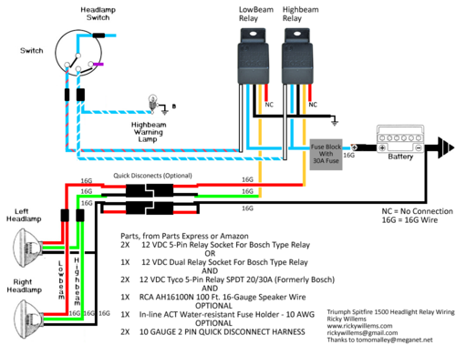 Wiring Diagram Car Relay : Headlight relay question spitfire gt forum triumph